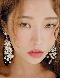 Elegant Silver Color Full Pearls Decorated Long Earrings