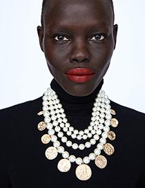 Collar De Perlas Con Monedas