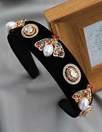 Diadema De Mariposa De Perlas Con Diamantes En Aleación De Tela
