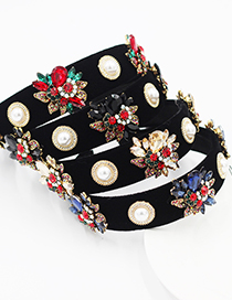Fashion Black Broad-brimmed Headband With Diamonds Pearls And Flowers
