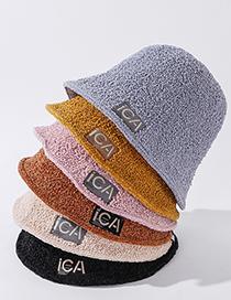 Sombrero De Pescador De Lana De Cordero Con Etiqueta De Tela De Color Puro