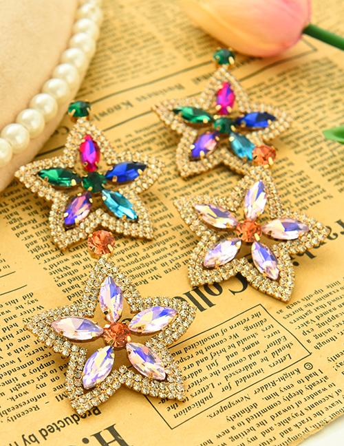 Aretes De Flor De Diamantes De Aleación