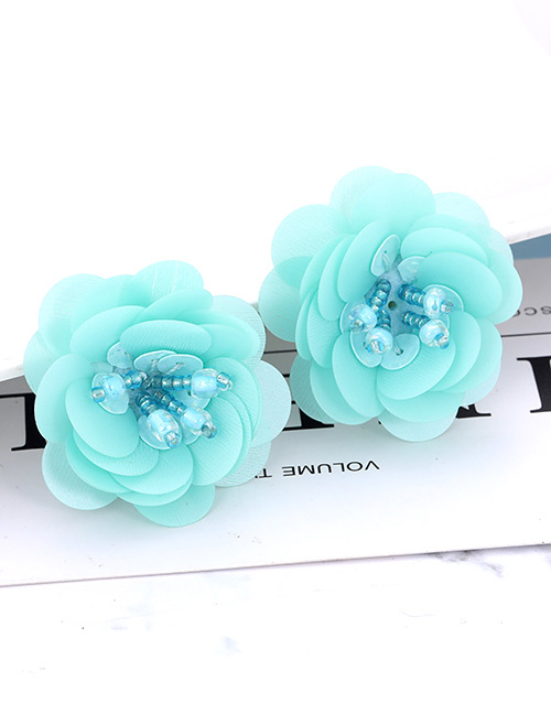 60f300bed567 Aretes De Flor De Lentejuelas De Moda  Elegant Blue Flower Shape Design  Pure Color Earrings ...