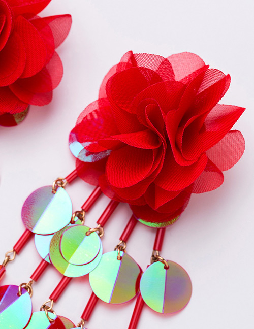 9fdd59d4f56b Aretes Largos De Borla Con Flores De Tela  Fashion Pink Flower Shape  Decorated Tassel Earrings ...