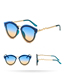 Fashion Gradient Gray Frameless Cat Eye Sunglasses