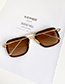 Fashion Gold Frame Brown Alloy Resin Square Sunglasses