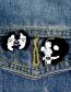 Fashion Black And White Split Enamel Skull Clothes Badge