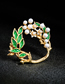 Fashion Green Drop Oil Flower Pearl With Diamond Brooch