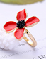Fashion Red Alloy Plating Drip Flower Ring