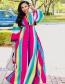 Fashion Color Bandage Split Color Rainbow Stripe Shawl