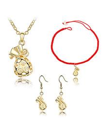 Skinny Gold Color Necklace Earring Set Alloy Crystal Sets