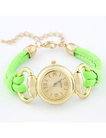 Diy Green Fluorescence Color Pu Leather Alloy Fashion Watches