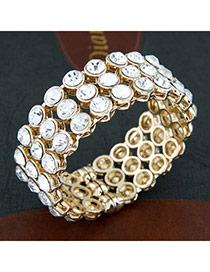 Antique Gold Color Elegant Gemstone Design Alloy Fashion Bangles
