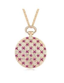 Hunting Plum Red Elegant Circle Shape Austrian Crystal Crystal Necklaces
