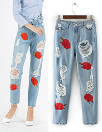 Fashion Blue Embroidery Flower Decorated Holes Jeans