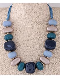 Fashion Blue+gray Irregular Shape Design Simple Necklace