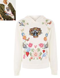 Suéter Bordado De Flores De Moda