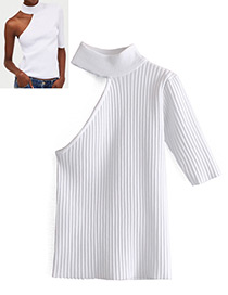 Camiseta Tejida Irregular De Color Puro