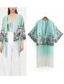 Kimono Estampado De Flores Con Borlas Largas