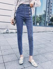 Pantalones Mezclilla Con Botones De Moda