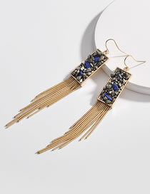 Fashion Gold Color Square Shape Decorated Tassel Earrings