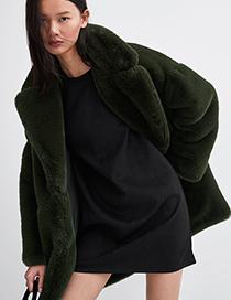 Abrigo Grueso De Felpa De Color Puro De Moda