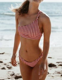 Traje De Baño De Un Solo Hombro Estampado Bikini