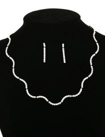 Set De Aretes De Collar De Diamantes Ondulados