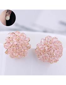 Fashion Pink Crystal Ear Studs