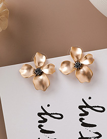Fashion Gold 925 Silver Needle Matte Metal Three-dimensional Flower Earrings