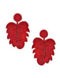 Fashion Red Non-woven Diamond-studded Rice Beads Leaves Earrings
