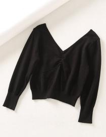 Hollow Love Mesh V-neck Sweater