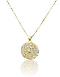 Collar Redondo Geométrico De Caballero De Diamantes Chapado En Oro