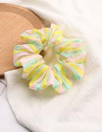 Fashion Green Colorful Pinstriped Cloth Bowel Hair Rope