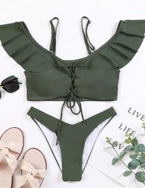 Bikini Con Volantes Mujer Split Sling De Color Sólido