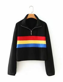 Suéter Con Cuello De Cremallera Y Costuras A Rayas De Color