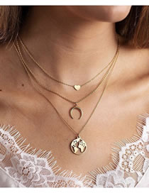 Love Crescent Map Alloy Multicayer Necklace