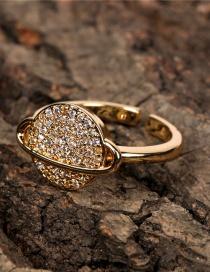 Anillo Abierto Con Esfera De Saturno Con Micro Diamantes