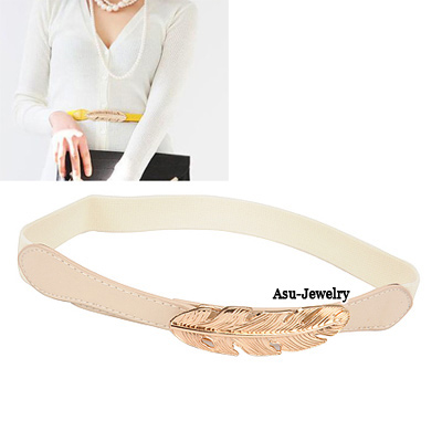 Quilted Apricot Elastich Leaf Buckle Candy Color Waistband PU Wide belts