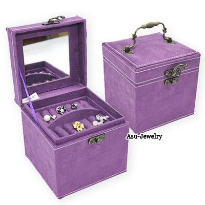 Foldable Purple Square Shape Design PU Jewelry box