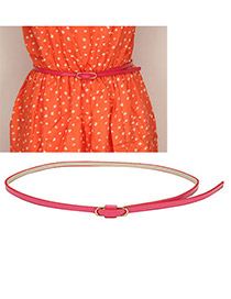 Preppy Plum Red Clips Shape Buckle PU Thin belts