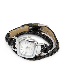 Cocktail Black Lock Shape Weave PU Ladies Watches