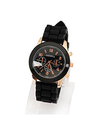 Cool Black Jelly Fluorescence Color Alloy Ladies Watches