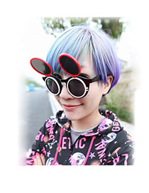 Mink With Black Frame Vintage Round Frame Double Clamshell  Design Resin Women Sunglasses