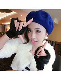 American Black Fingerless Warmer Plaid Knit With Fur