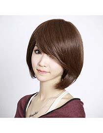 Birthing Dark Brown Bobo Style With Tilted Bang High-Temp Fiber Wigs