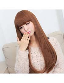 Memorable Light Brown Full Bangs In Long Straight