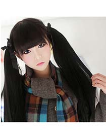 Micro Nature Black Long Straight Binded Ponytail High-Temp Fiber Wigs