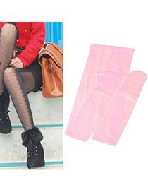 Medieval Pink Dot Lace Design Velvet Tattoo Stockings