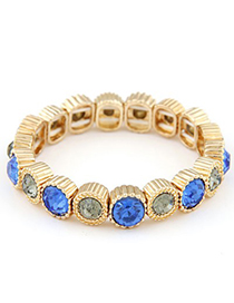 Locket blue & gray CZ diamond decorated round shape design alloy Fashion Bracelets